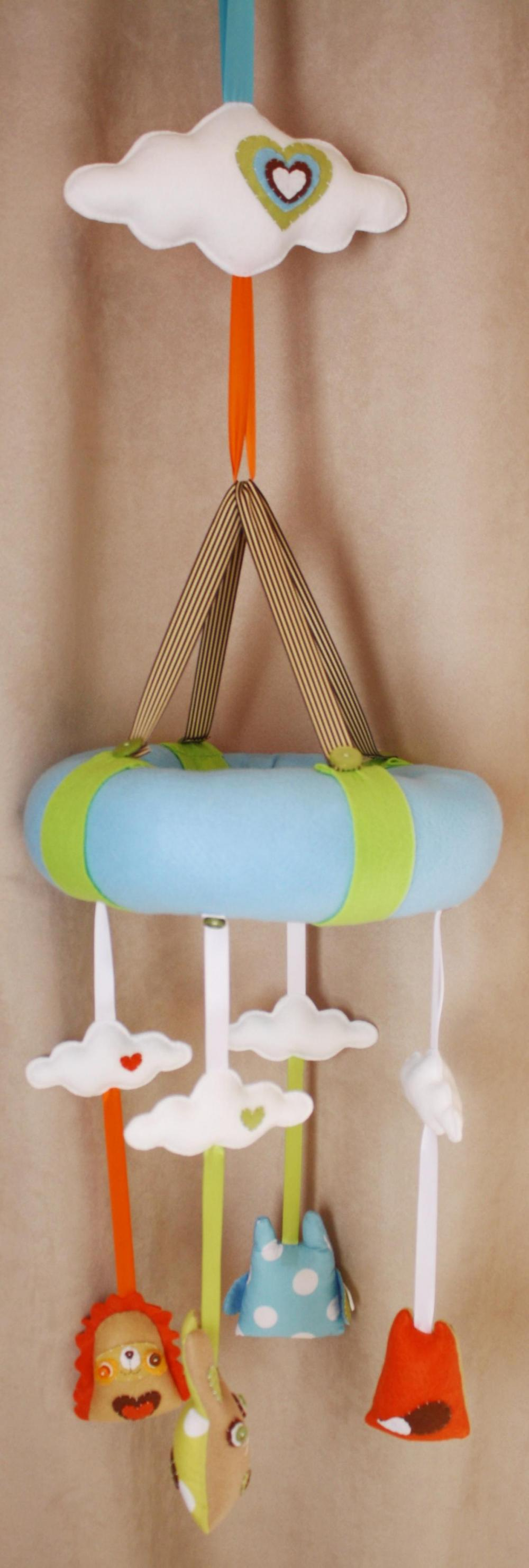 BOObeloobie Woodlands Baby Mobile with a Hedgehog, Fox, Owl and Rabbit in Blue, green, brown, white, orange and cream