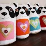 BOObeloobie PANDAmonium Panda Bear in Orange, Pink, white, black and tan denim detail