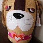 BOObeloobie Bippity the Basset in Cream, pink, orange, white and faux fur ears