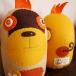 BOObeloobie Mango the Monkey in Yellow, Orange, Chocolate brown and White accents with mohawk