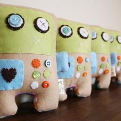 BOO!beloobie Remmington the Robot in Blue, Green, white, orange and cream with button detail