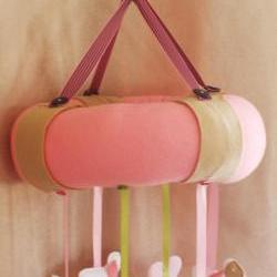BOO!beloobie Little Lamb Baby mobile in Pink, lime green, white and cream in a farmyard style for girls