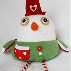 BOObeloobie Small Slushy the Snowman in Red, white and green with a orange carrot nose for Christmas