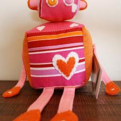 BOObeloobie Reu the Robot in Pink, Orange and White accents