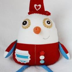 BOObeloobie Slushy the Snowman in Red, blue and white with an orange carrot nose
