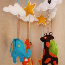 BOO!beloobie Jungle Baby Mobile with Giraffe, Elephant, Cloud and Star detail in Blue, green, chocolate brown, yellow and cream